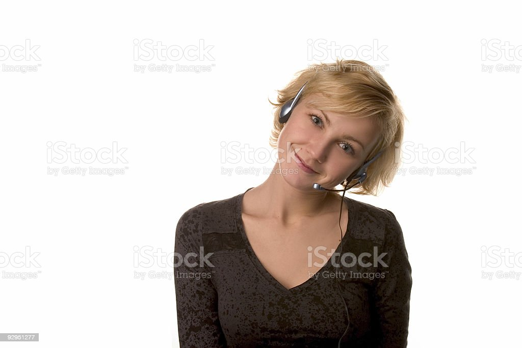 smiling casual girl with headset royalty-free stock photo