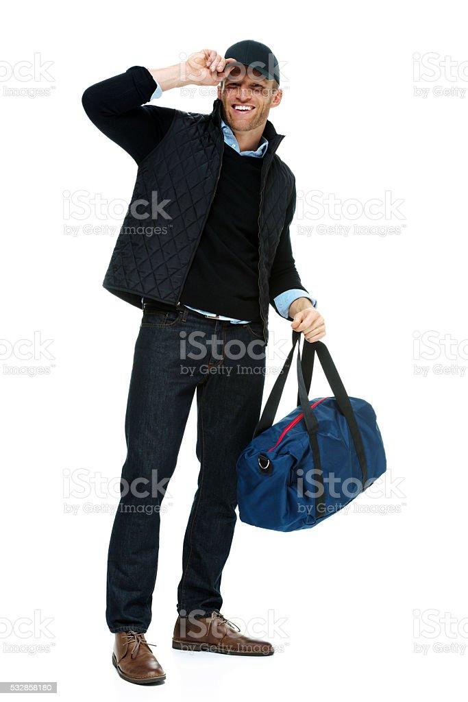 Smiling casual man looking at camera stock photo