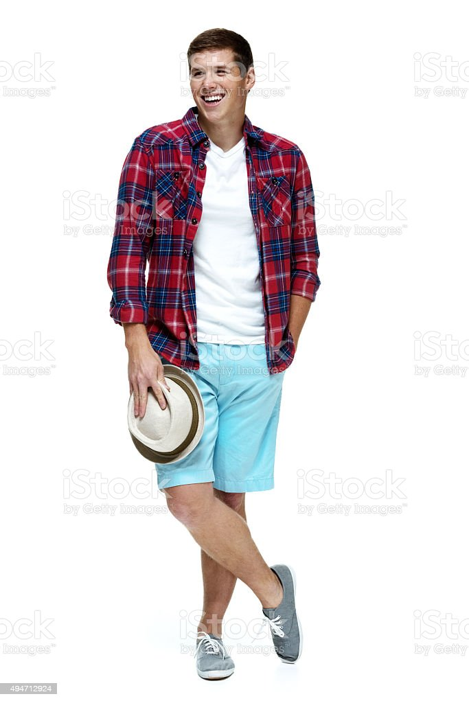 Smiling casual man looking away stock photo