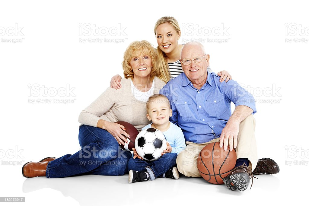 Smiling Caucasian family together isolated on white royalty-free stock photo