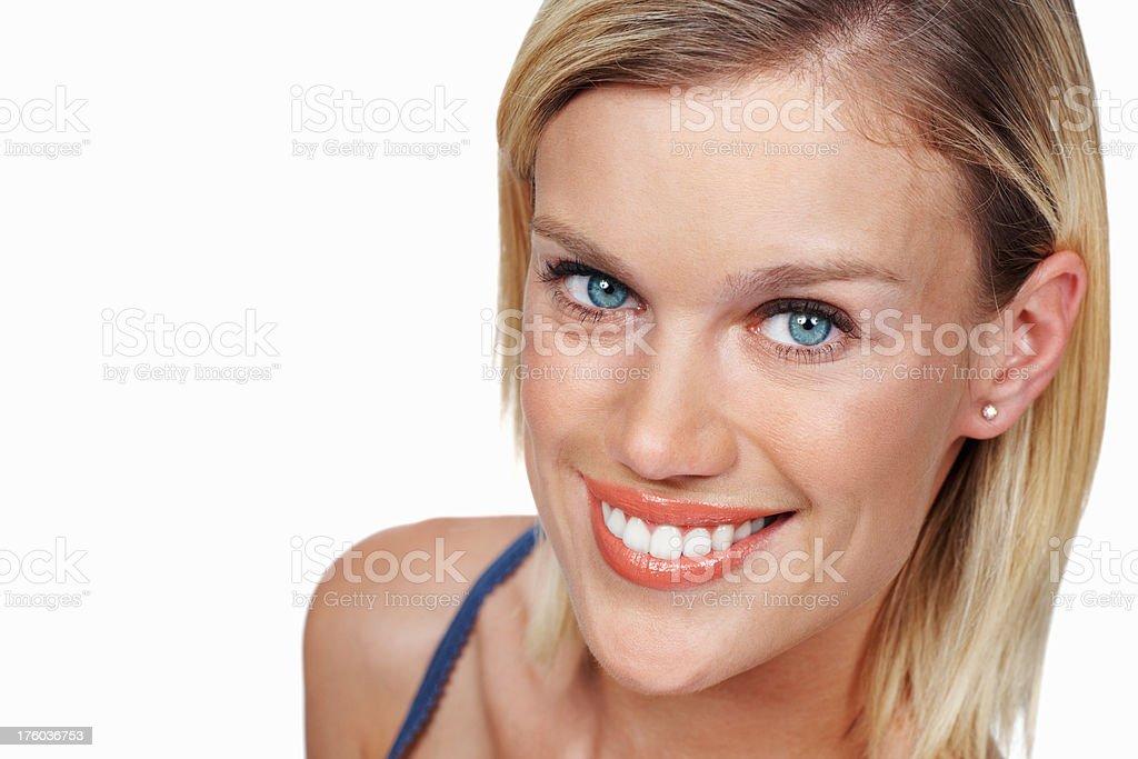 Smiling Caucasian woman stock photo