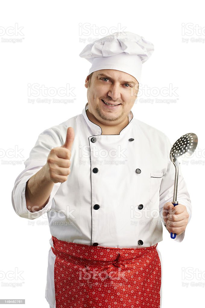 smiling chef give the thumbs up stock photo