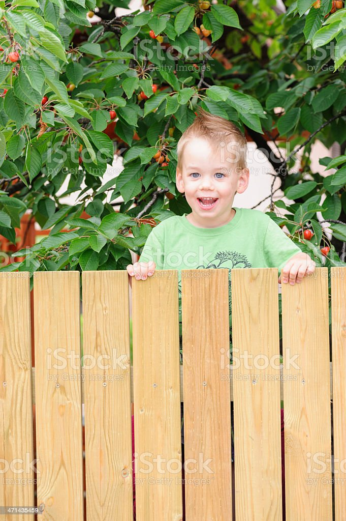 Smiling child behind fence stock photo