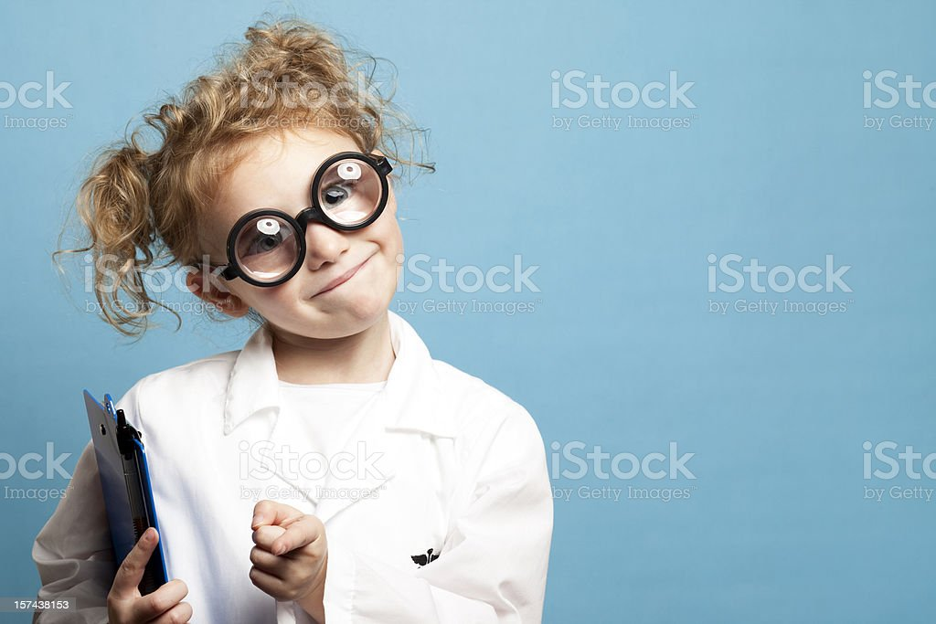 Smiling Child Doctor with Clipboard royalty-free stock photo