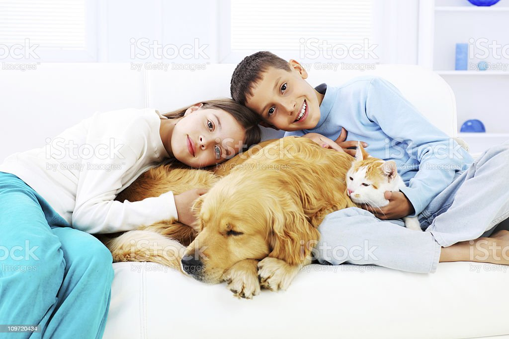 Smiling children embracing sleeping dog and cat royalty-free stock photo