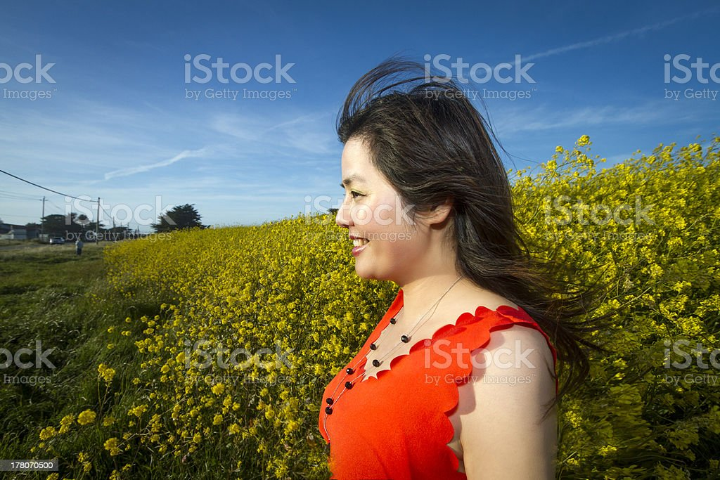 Smiling Chinese girl  in a field of rape flower stock photo