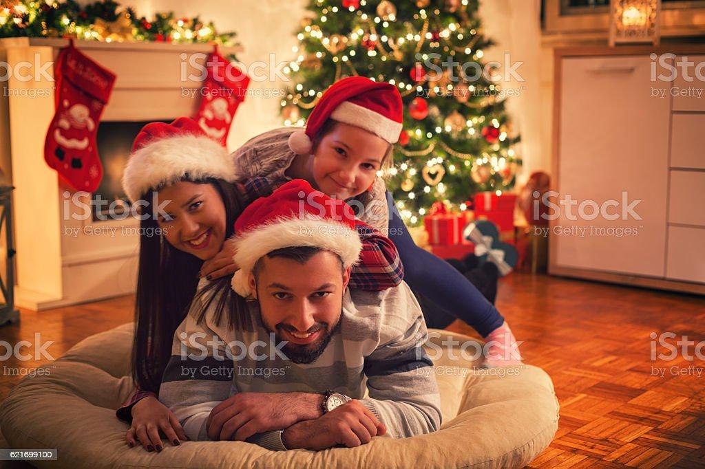 Smiling Christmas Family stock photo