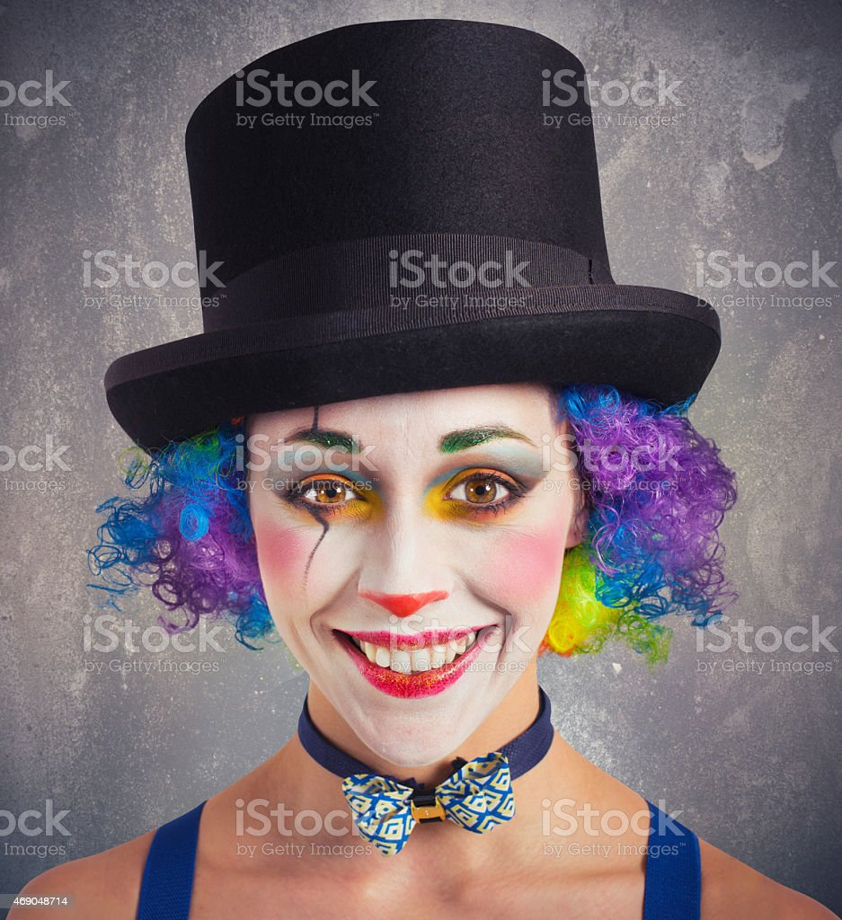 Smiling clown and colorful stock photo
