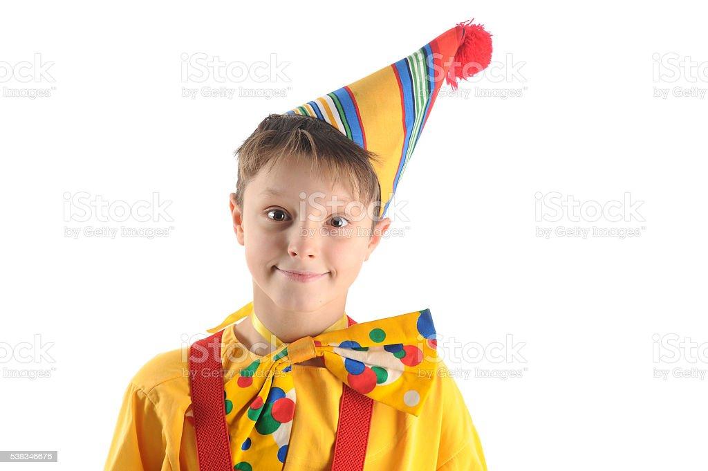 Smiling clown boy stock photo