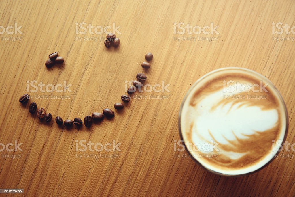 Smiling coffee beans stock photo