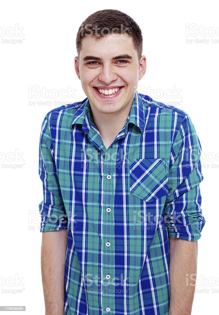 Smiling confident guy close up portrait royalty-free stock photo