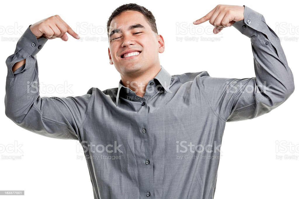 Smiling Confident Young Man Pointing At Himself stock photo