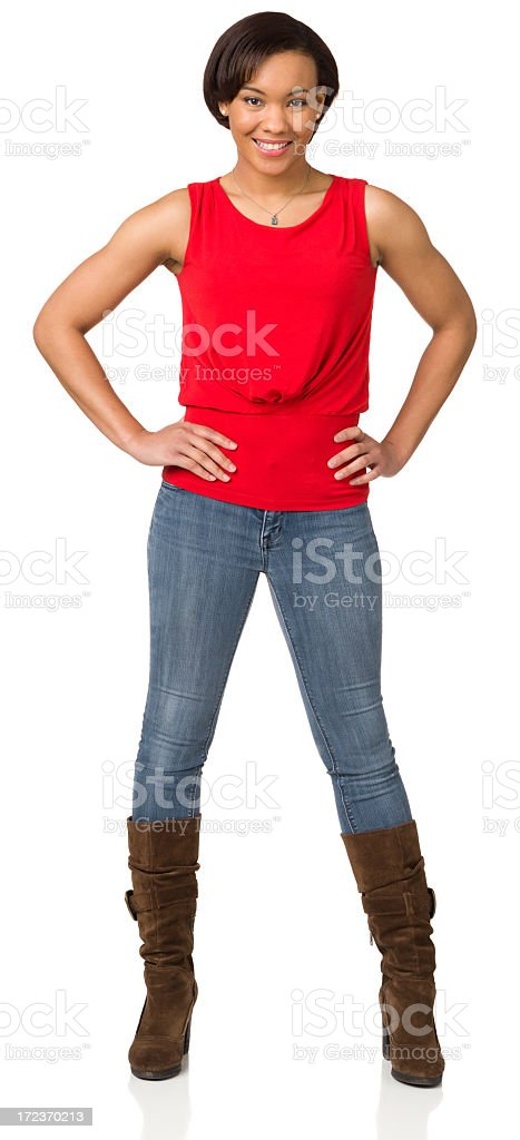 Smiling Confident Young Woman Full Length Portrait stock photo