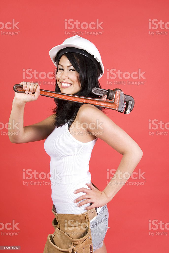 Smiling Construction Woman royalty-free stock photo