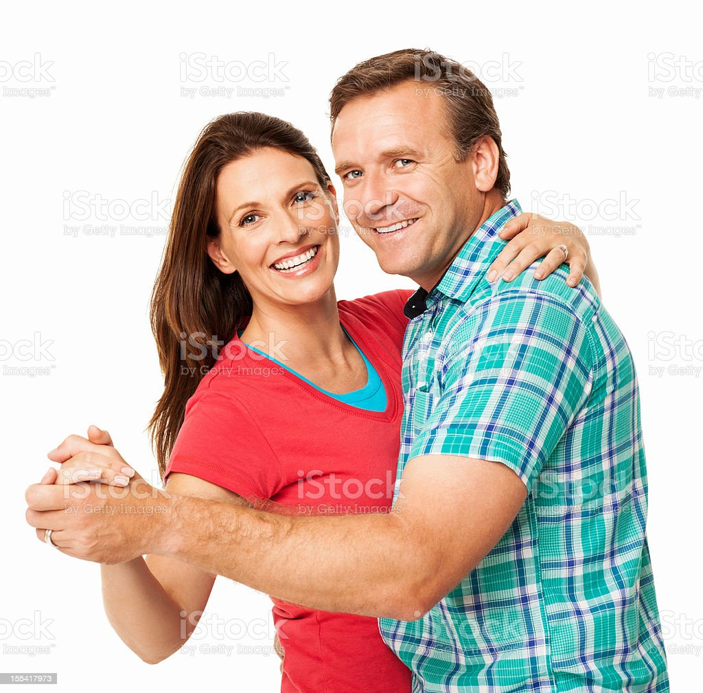 Smiling Couple Dancing Together - Isolated royalty-free stock photo