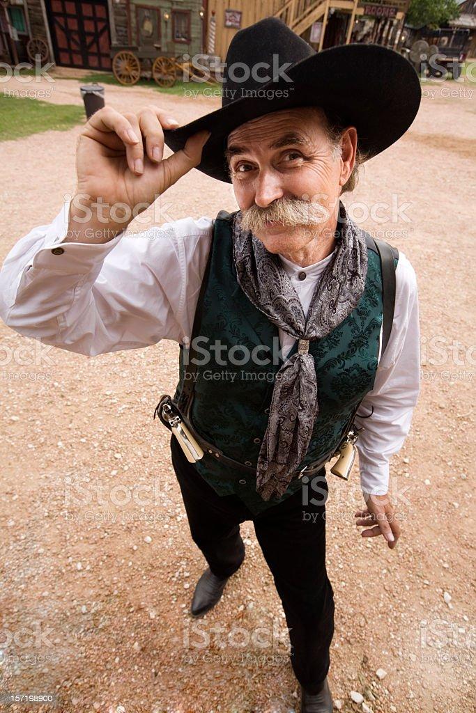 Smiling cowboy stock photo