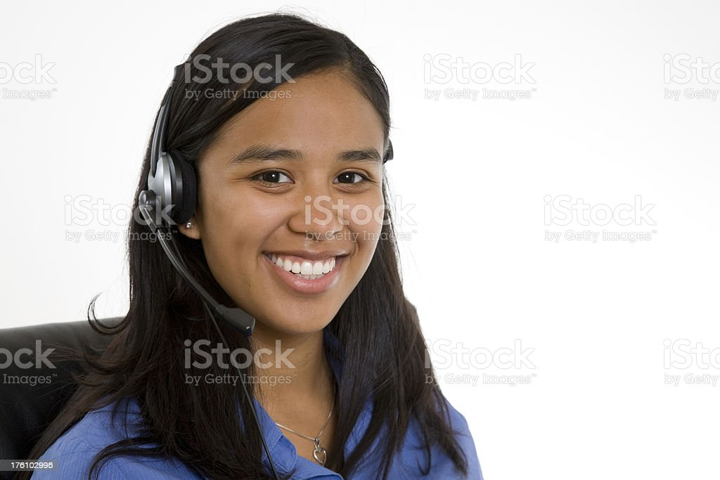 Smiling Customer Service Lady with Telephone Headset royalty-free stock photo