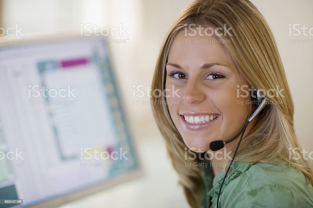 Smiling customer service stock photo