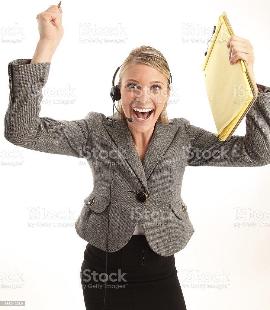 Un cordial servicio al cliente con auriculares Bloc de notas y foto de stock libre de derechos