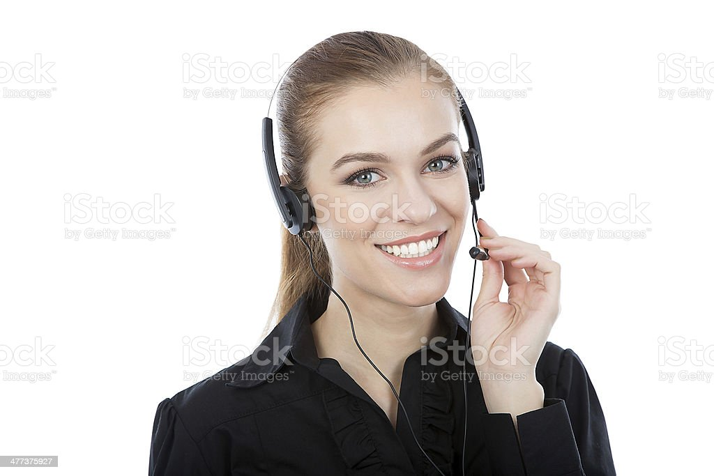 Smiling customer service worker royalty-free stock photo