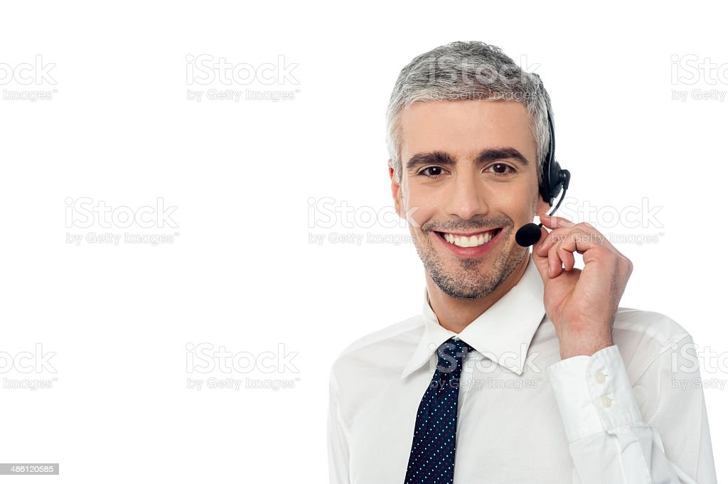 Smiling customer support executive stock photo
