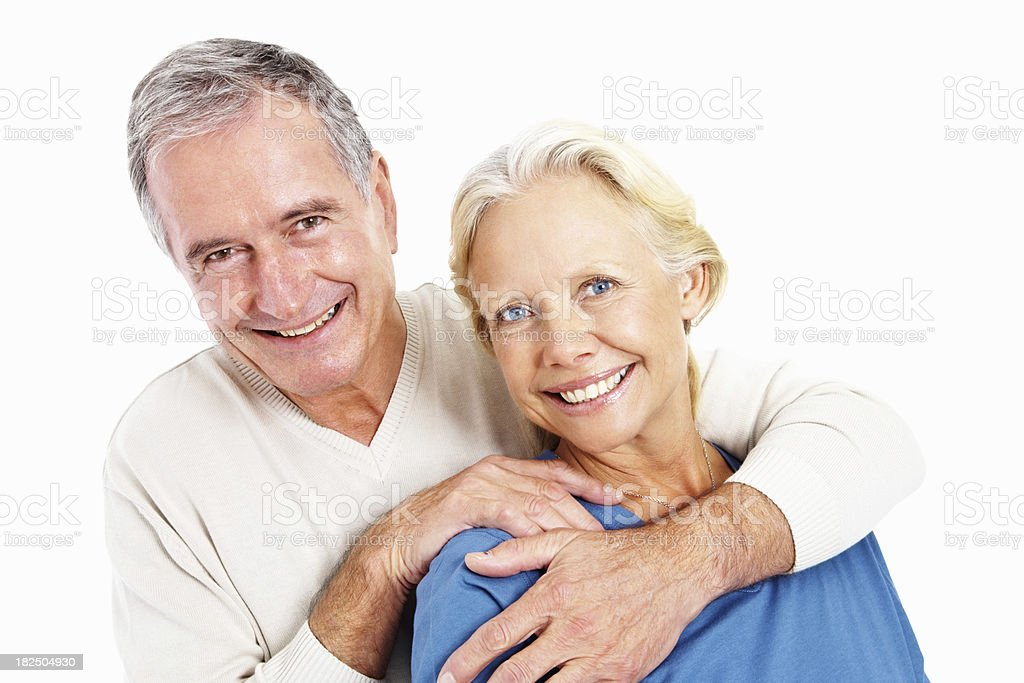 Smiling cute elderly man and woman against white background royalty-free stock photo