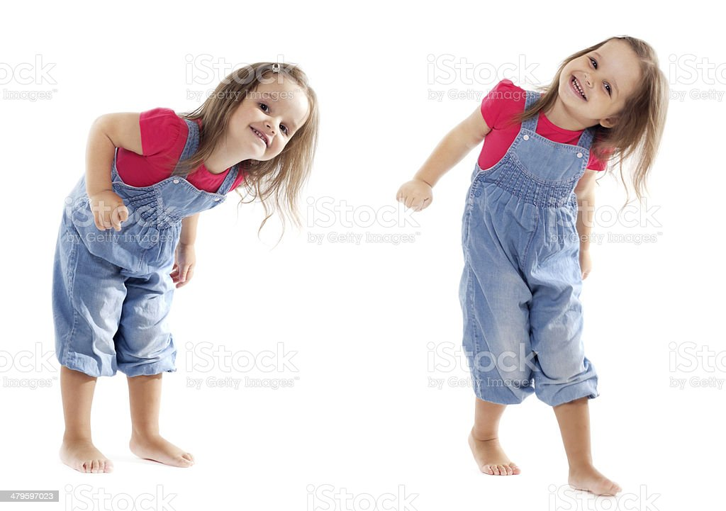 Smiling Dancing Toddler Girl - Stock Image stock photo