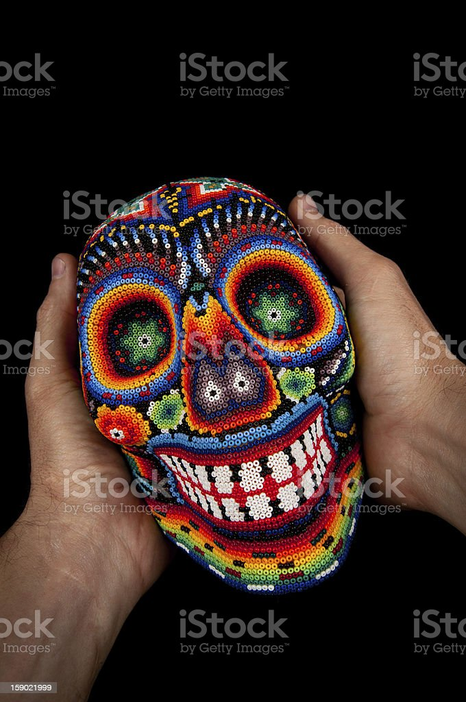 Smiling death at your hands stock photo