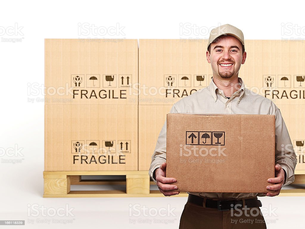 smiling delivery man royalty-free stock photo