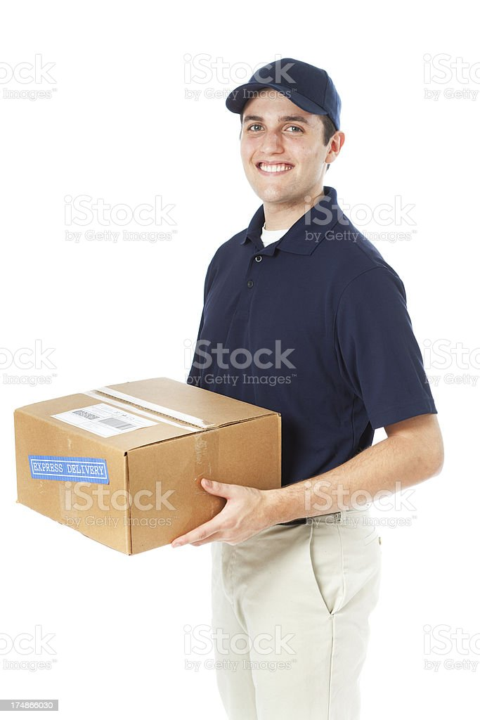 Smiling Delivery Man with Package in Hand on White royalty-free stock photo