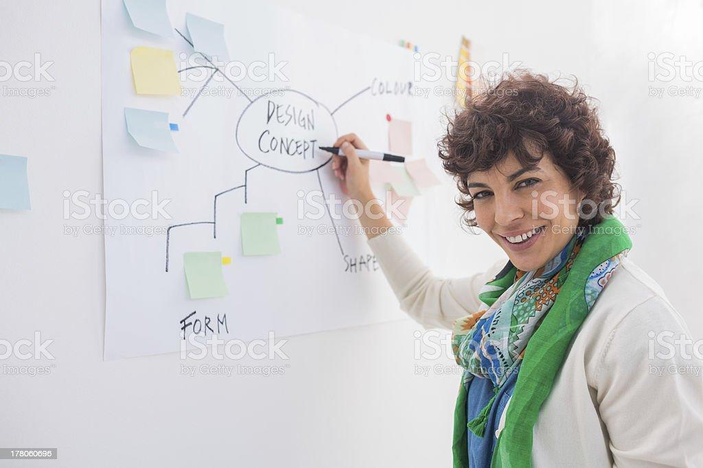 Smiling designer writing on white board royalty-free stock photo