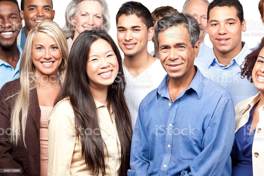 Smiling diverse group of people stock photo