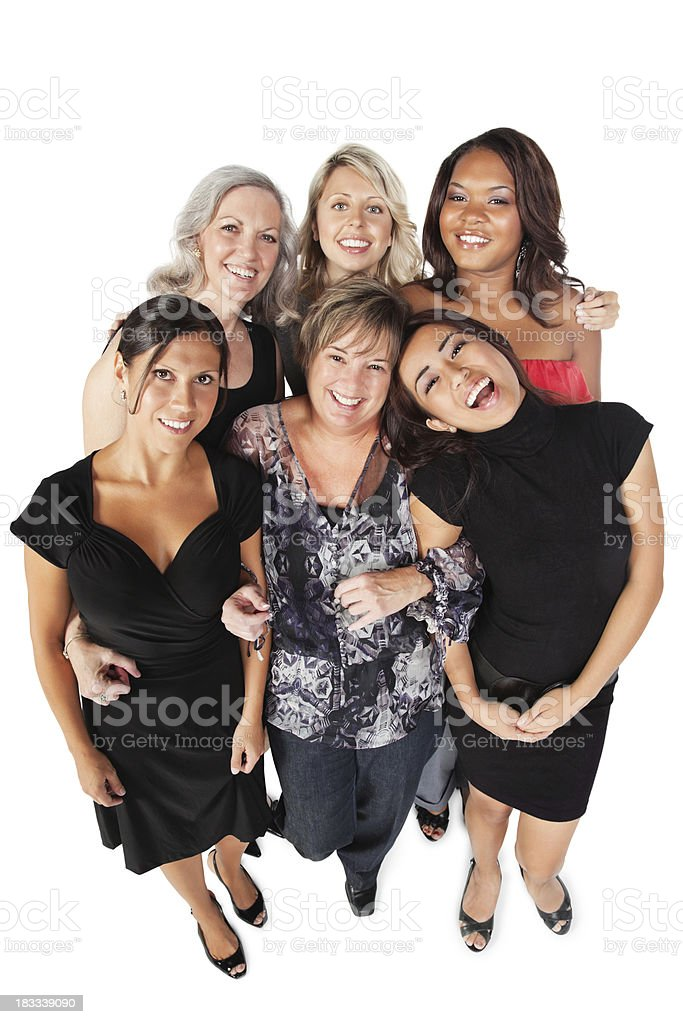 Smiling Diverse Group of Women Looking Up, Isolated on White royalty-free stock photo