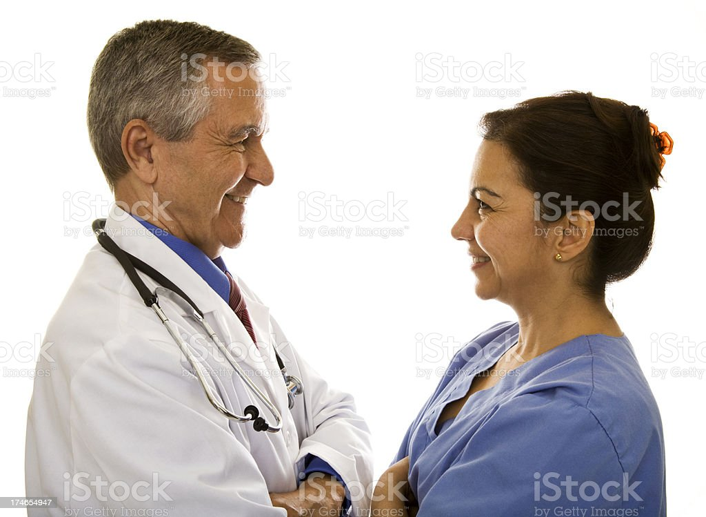 Smiling Doctor and Nurse royalty-free stock photo