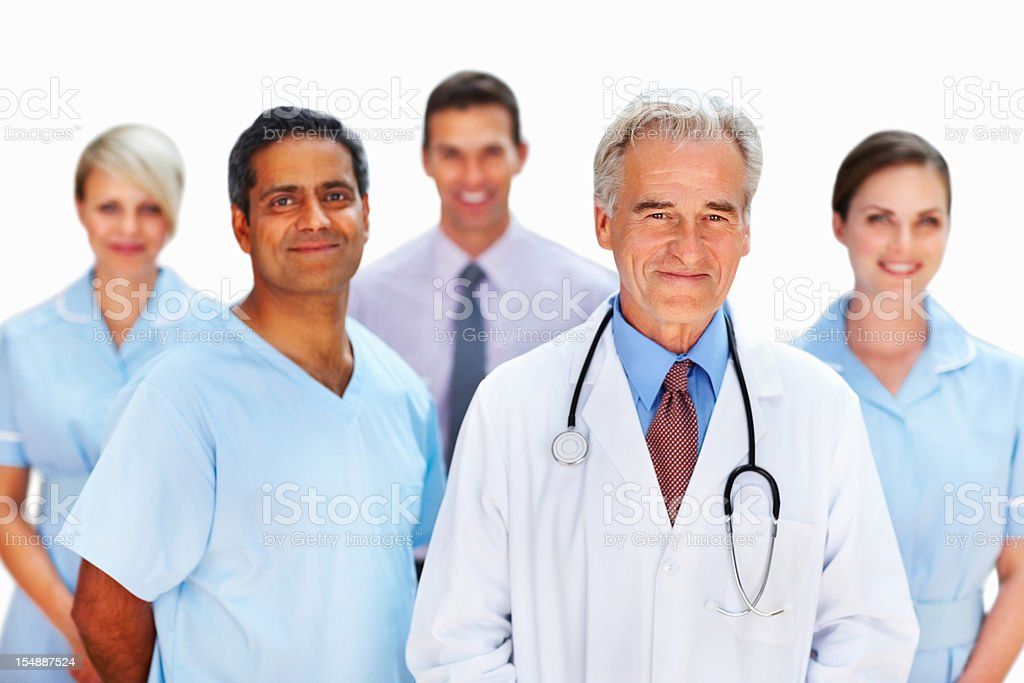 Smiling doctor supported by staff royalty-free stock photo