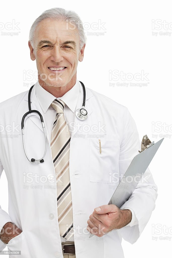 Smiling Doctor With Clip board - Isolated royalty-free stock photo
