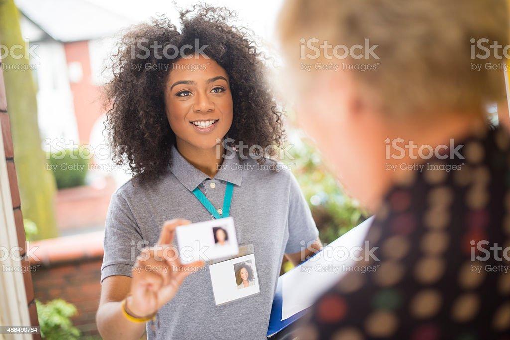 Smiling door knocker stock photo