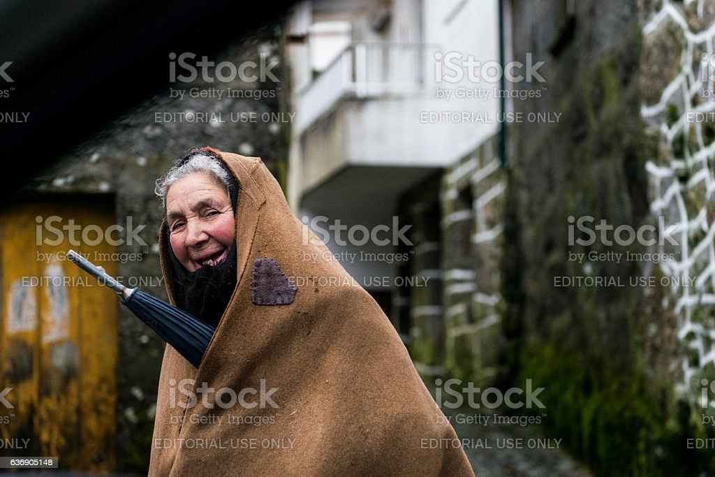 Smiling elderly woman, Serra da Gralheira, Portugal stock photo