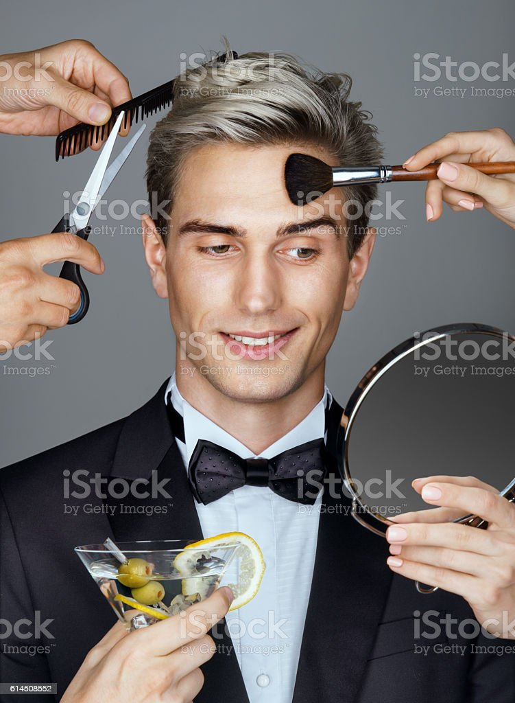 Smiling elegant man stock photo