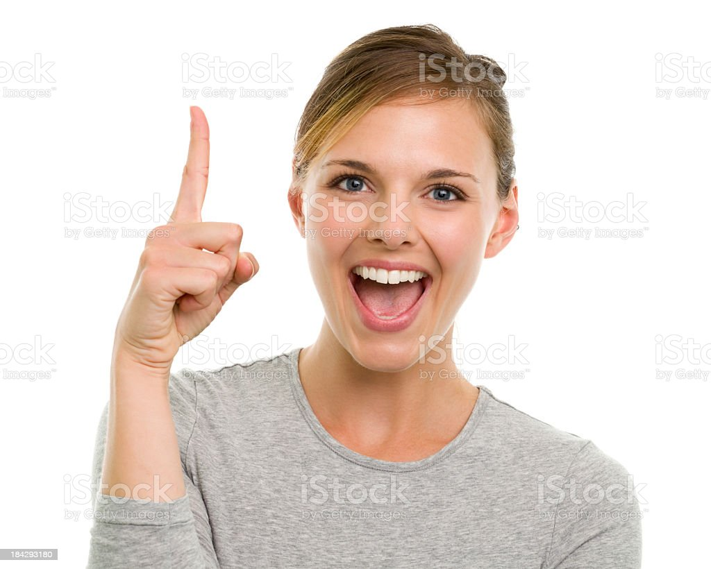 Smiling Excited Young Woman One Finger Number 1 Hand Gesture stock photo