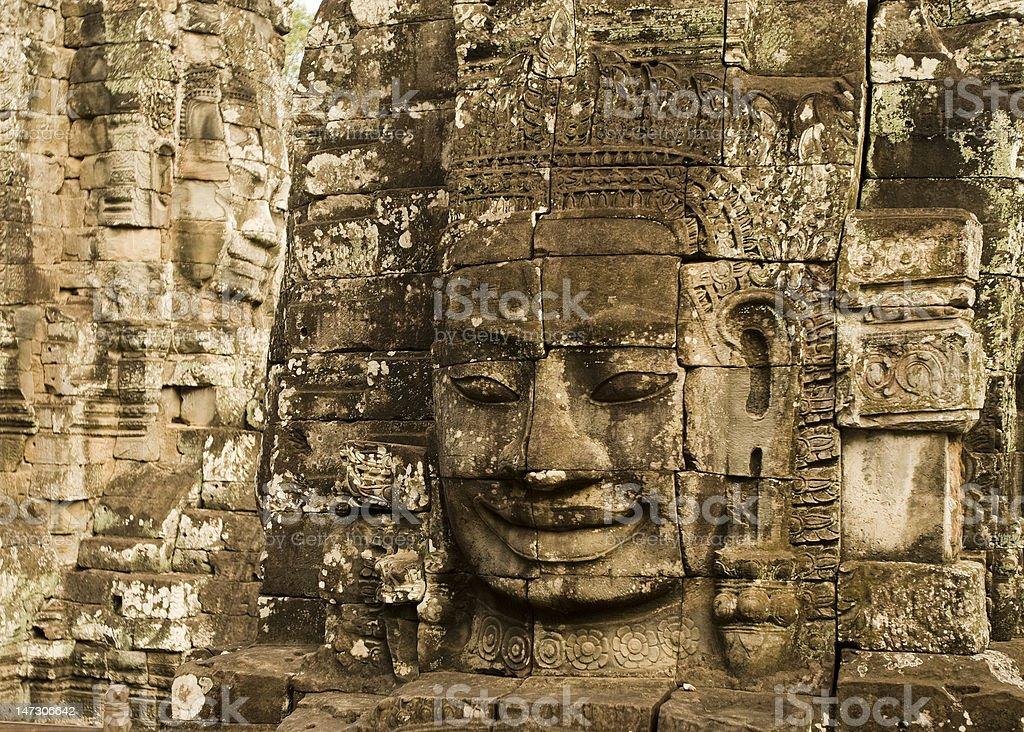 Smiling face at Angkor Wat royalty-free stock photo