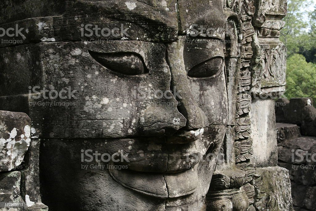 Smiling Face at Angkor Wat stock photo