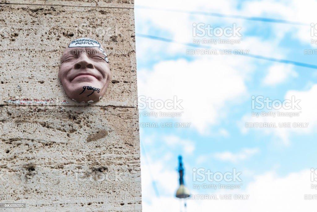Smiling face graffiti in Rome, Italy stock photo