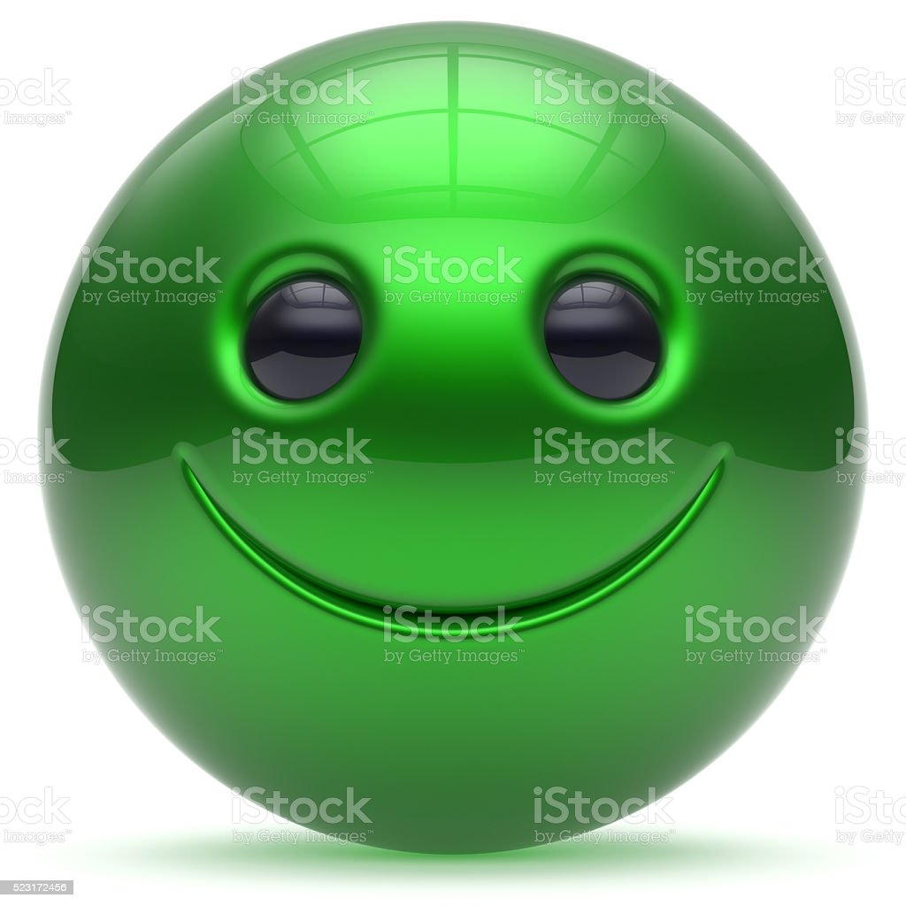 Smiling face head ball cheerful sphere emoticon cartoon green stock photo