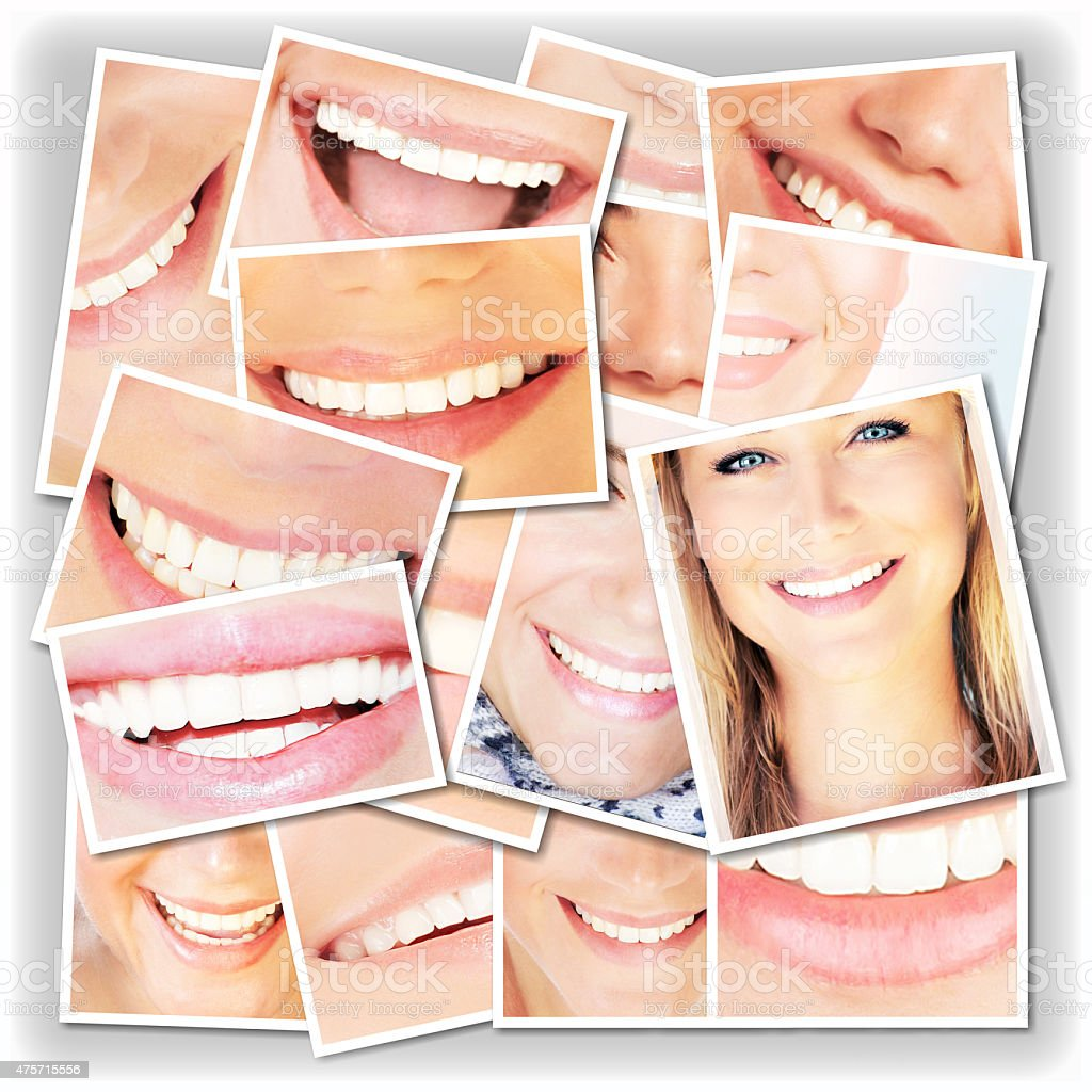 Smiling faces collage stock photo