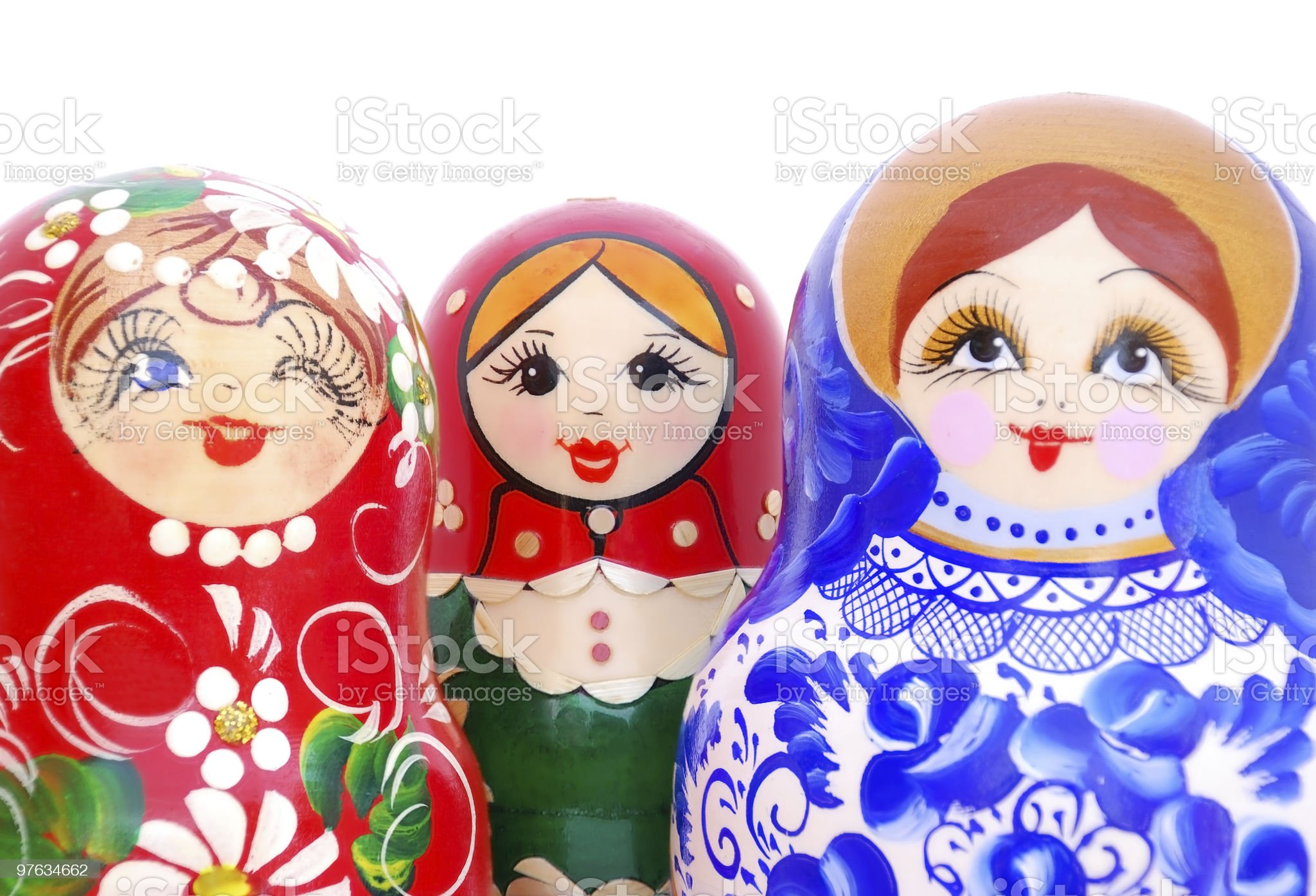 Smiling faces of Russian dolls royalty-free stock photo