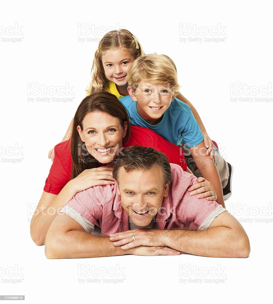 Smiling Family Lying On Each Other - Isolated royalty-free stock photo