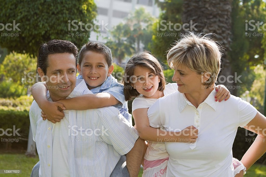 Smiling Family of Four royalty-free stock photo