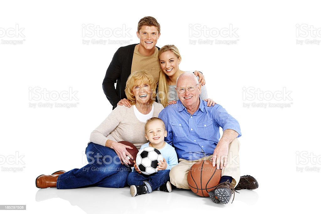 Smiling family together isolated on white royalty-free stock photo