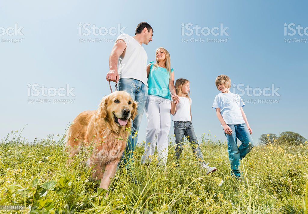 Smiling family walking in nature with dog and communicating. stock photo